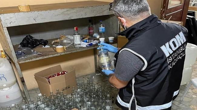 İstanbul'da 2 Bin 162 Litre Sahte İçki Ele Geçirildi