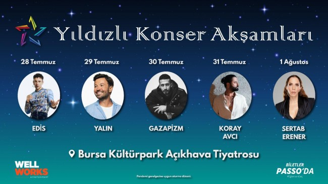"""""""Yıldızlı Konser Akşamları"""" Bursa'da başlıyor"""
